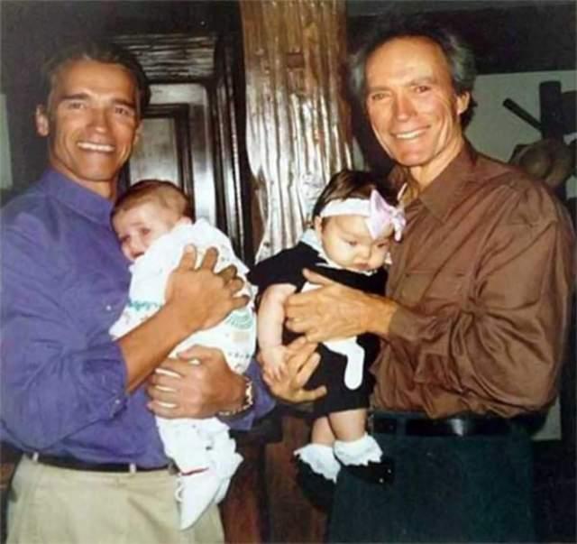 Шварценеггер с сыном Патриком и Клинт Иствуд с дочерью Франческой.