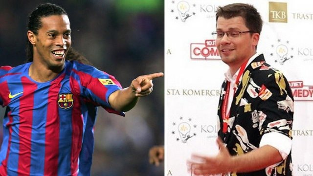 Гарик Бульдог Харламов и Роналдиньо (37 лет). Футболист определенно мог бы преподать юмористу пару уроков физкультуры.