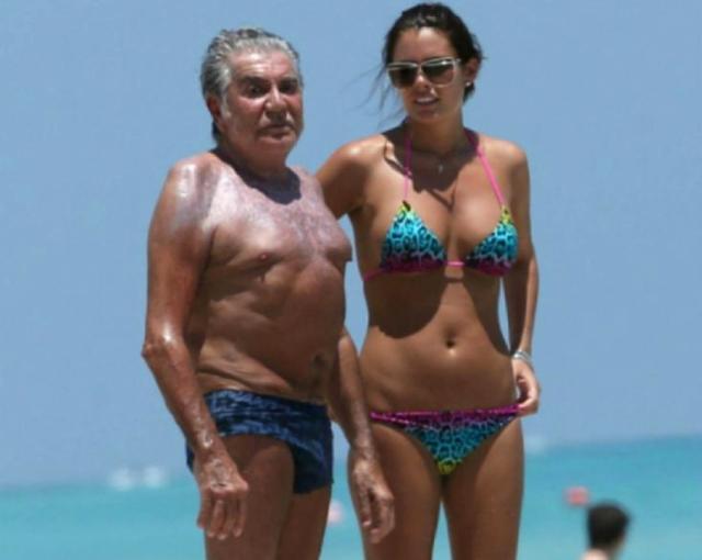 Вот уже более восьми лет 75-летний Роберто счастлив с 28-летней Линой, модельной внешности которой можно лишь позавидовать.