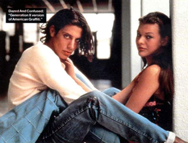 """Милла Йовович и Шон Эндрюс. Впервые актриса вышла замуж аж в 16 лет, став женой партнера по фильму """"По кайфу и в смятении""""."""