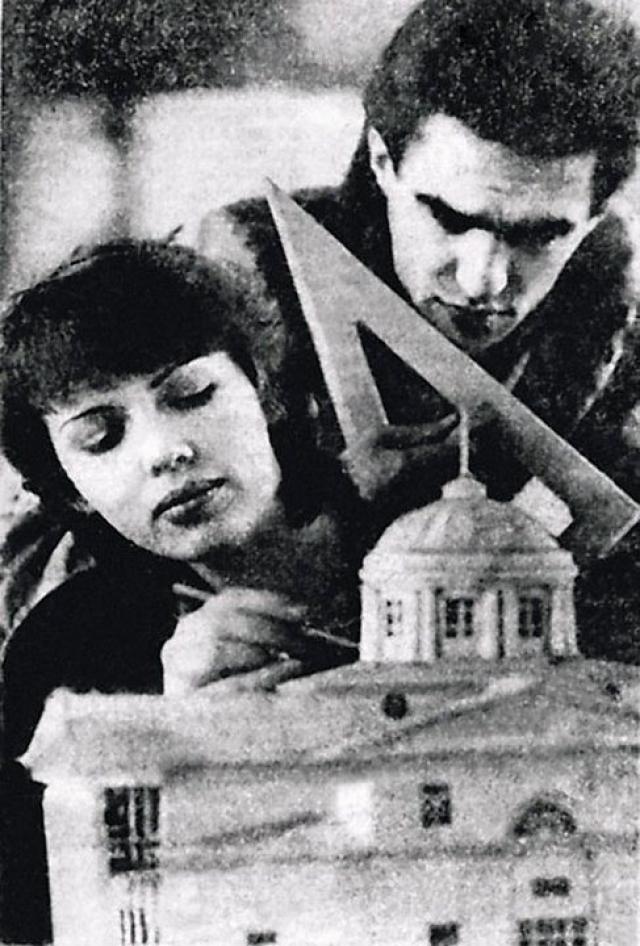 Вячеслав Бутусов с первой женой - студенты Свердловского архитектурного института.