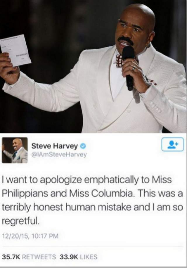Выяснилось, что ведущий Стив Харви назвал ее победительницей случайно. Спустя мгновение он поправил ошибку, но Ариадна поседела за эти секунды на полголовы.Позже Харви извинился в соцсетях, но ошибся - уже в написании названий стран Колумбия и Филиппины.