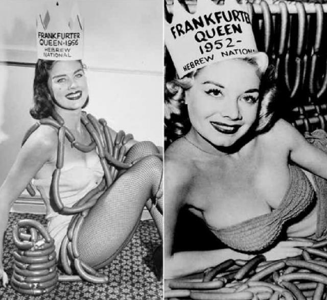"""""""Королева франкуфртских колбасок"""". В 50-х годах прошлого века в Соединённых Штатах в рамках Национальной недели хот-догов проводились своеобразные конкурсы красоты."""