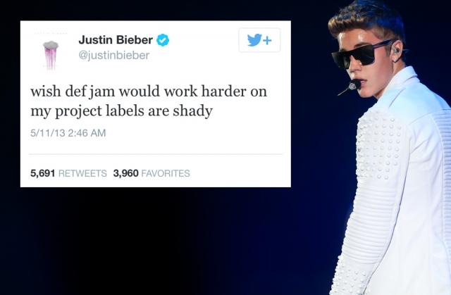 """Джастин Бибер. Исполнитель почему-то решил """"наехать"""" на свой звукозаписывающий лейбл, используя Твиттер."""