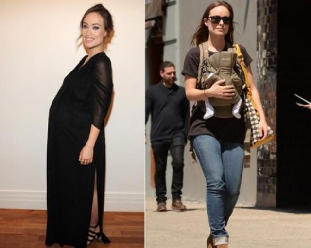 Оливия Уайлд. 20 апреля 2014 года актриса стала мамой, а уже через 10 дней прогуливалась по Нью-Йорку, демонстрируя подтянутую форму.