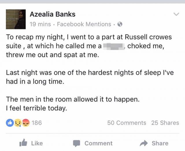 """В другой раз Азилия пожаловалась в """"Фейсбуке"""", что актер Рассел Кроу оскорбил ее, назвав """"ниггершей"""", пытался удушить певицу и выгнал из номера, плюнув в нее."""