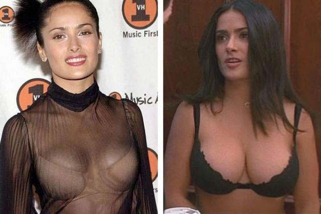Тогда появление Сальмы на London Evening Standard Theatre Awards с глубоким декольте не оставило сомнений в том, что она увеличила грудь с третьего размера до четвертого.