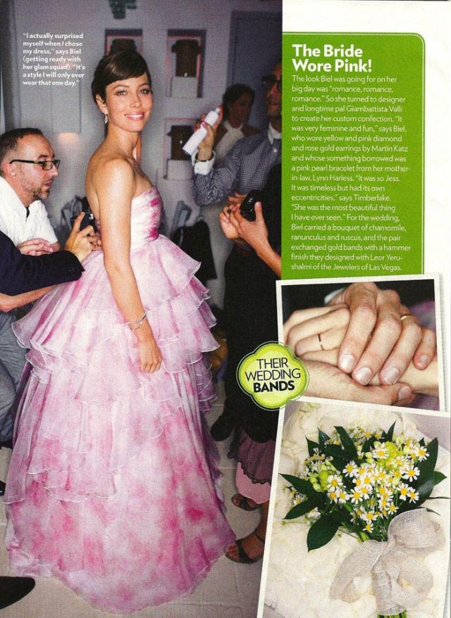 Джессика Билл. За Джастина Тимберлейка актриса выходила в платье похожем на фруктовое мороженое. Возможно, ее подкупил оригинальный цвет, но в сочетании с рюшами стало похоже на полный провал.