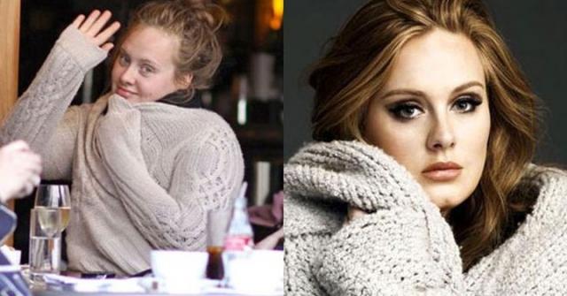Адель. На сцене и светских мероприятиях певица предпочитает яркий макияж, без которого ее сложно узнать.