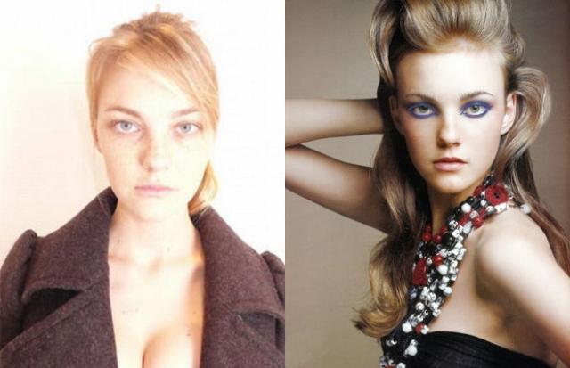 Каролин Трентини. По фото модели без макияжа можно предположить, что перед нами самая обычная девушка.