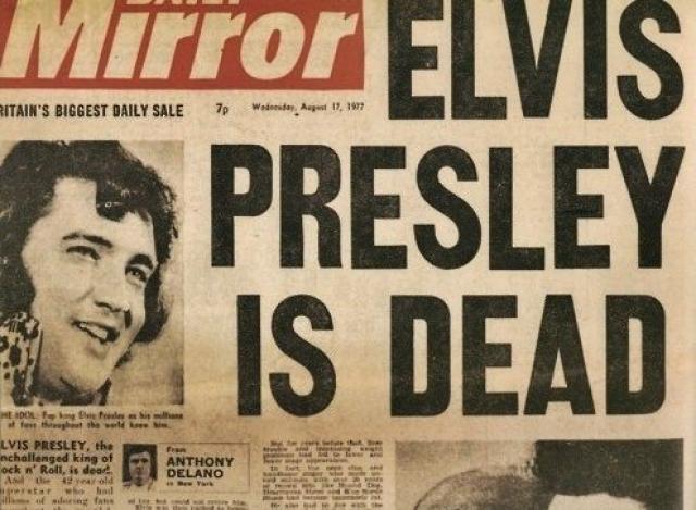 """Около 2 часов дня, 16 августа, Джинджер Олден, не обнаружив Элвиса в постели, пошла в ванную комнату, где нашла его безжизненное тело на полу. Срочно приехавшая """"скорая помощь"""" доставила Пресли в реанимацию, но все усилия оказались напрасны."""