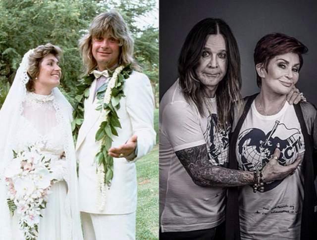 Оззи Осборн и Шэрон Осборн, 36 лет в браке. В 1979 году Оззи уволили из группы за пьянство, и тогда Шэрон, дочь его менеджера начала заниматься его сольной карьерой и вывела его из депрессии. На этом фоне между ними завязались романтические отношения.