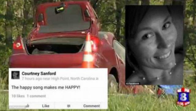 22-летняя Кортни Сэнфорд вела авто и одновременно делала и постила селфи с комментарием о том, как она счастлива.