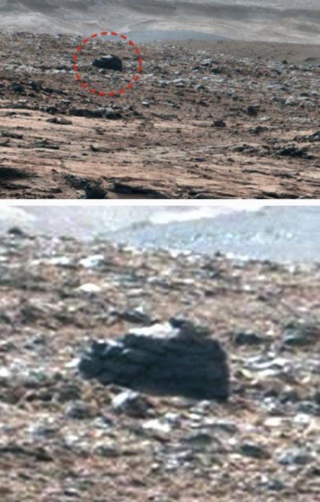 В ходе тщательного изучения снимков, сделанных марсоходом Curiosity, уфологи обнаружили на поверхности Красной планеты вот такой странный монумент.
