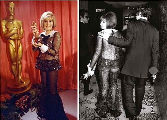 """В 1969 году Барбра Стрейзанд потрясла присутствующих своим выходом для получения """"Оскара"""" в черном прозрачном костюме, расшитом блестками."""