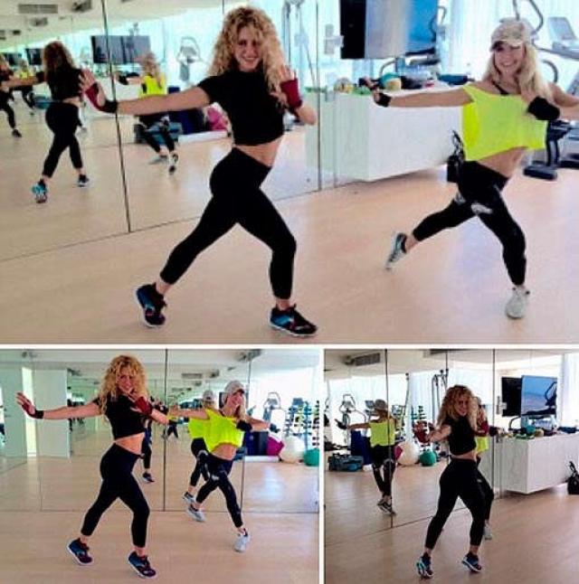 Шакира выполняет выпады в прыжке с гантелями, отжимания на кулаках, гиперэкстензии и бурпи. Иногда певица занимается пилатесом или йогой, но, по ее словам, для нее этот вид занятий слишком скучный.