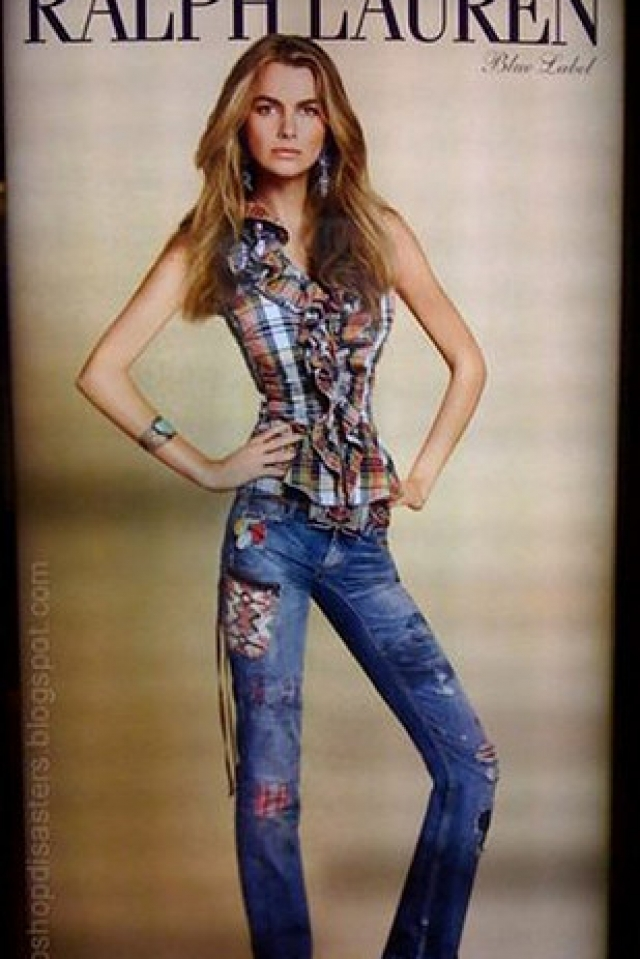 Фигура модели Филиппы Гамильтон было настолько отфотошоплена, что компания Ralph Lauren принесла публичные извинения за подобный снимок.