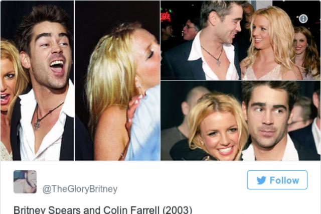 """Бритни Спирс и Колин Фэррелл. 2003 год. Короткий, но страстный роман. 2 февраля Бритни Спирс пришла на премьеру фильма """"Рекрут"""", а на следующий день таблоиды опубликовали фото целующуюся Бритни и Колина. Бритни утверждала, что между ней и Колином нет абсолютно никаких отношений, а тот поцелуй был дружеским."""