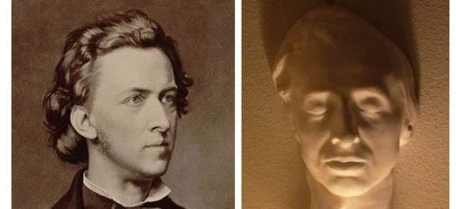 Фредерик Шопен. Комозитиор скончался в возрасте всего 39 лет, а его посмертную маску создал Огюст Клезингер 17 октября 1849 года.