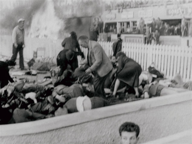 По официальным данным, от обломков и огня погибло 84 человека (83 зрителя и Левег), 120 было ранено.