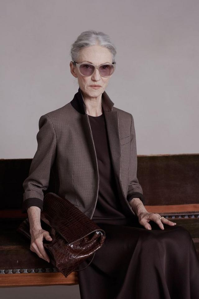 Линда Родин. В 2014 году 65-летняя икона стиля, модель, стилист и модный редактор приняла участие в съемках рекламы новой коллекции бренда The Row сестер Олсен.
