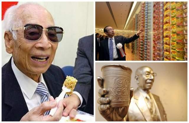 Момофуку Андо, создатель лапши быстрого приготовления. До 48 лет торговал солью и успел отсидеть в тюрьме.