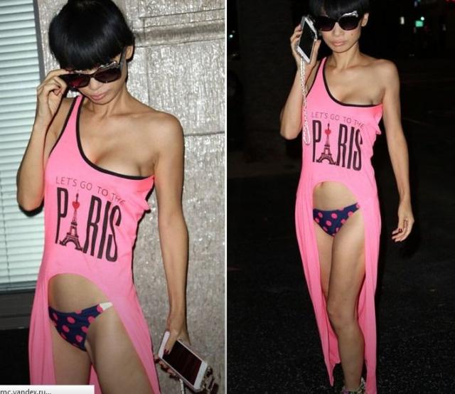 Бай Лин. 48-летняя актриса была замечена в подобном платье-футболке, под которое она решила надеть лишь трусы.