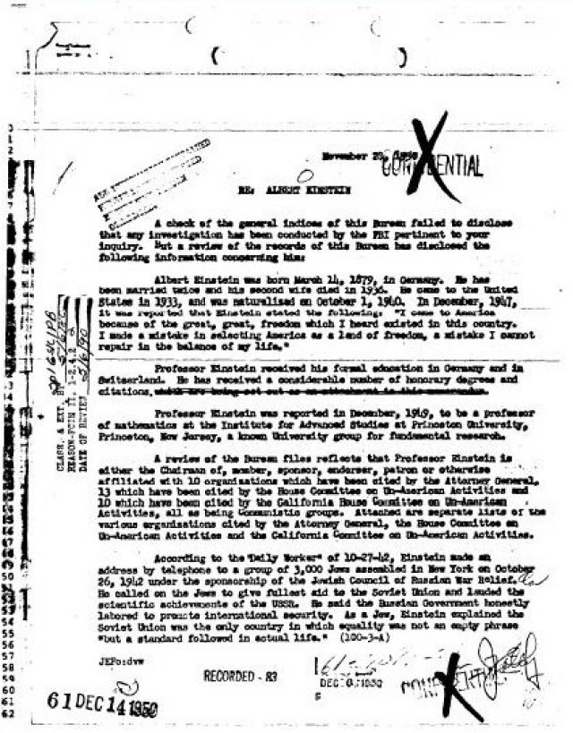 Политические взгляды знаменитого ученого были умеренно левыми, что послужило причиной внимания к нему со стороны ФБР. Начиная со дня переезда Эйнштейна в США, эта служба осуществляла за ним тайную слежку, просматривала его письма и записывала телефонные разговоры.