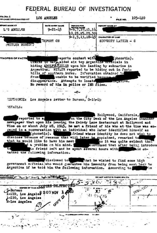 """Относительно бегства диктатора в Южную Америку существует даже ряд """"документов"""" ФБР, относительно расследования этого факта."""