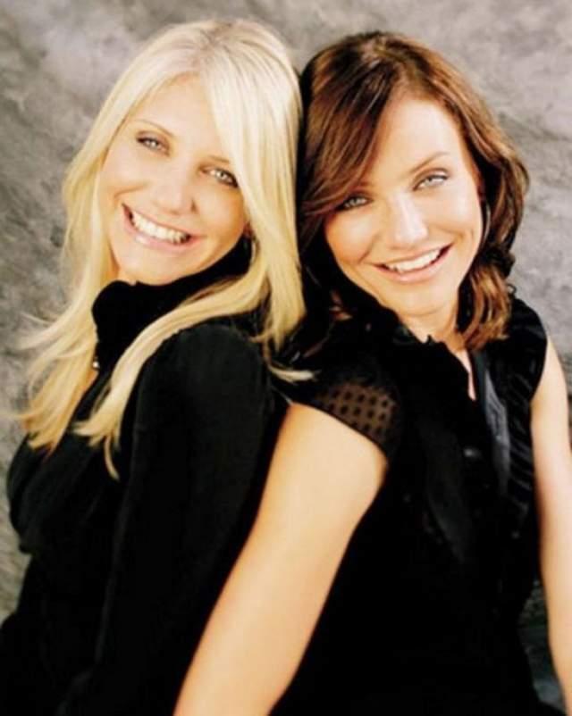 Камерон и Чимен Диаз. Чимен старше Камерон на три года, но схожесть у сестер такая, будто они близнецы.