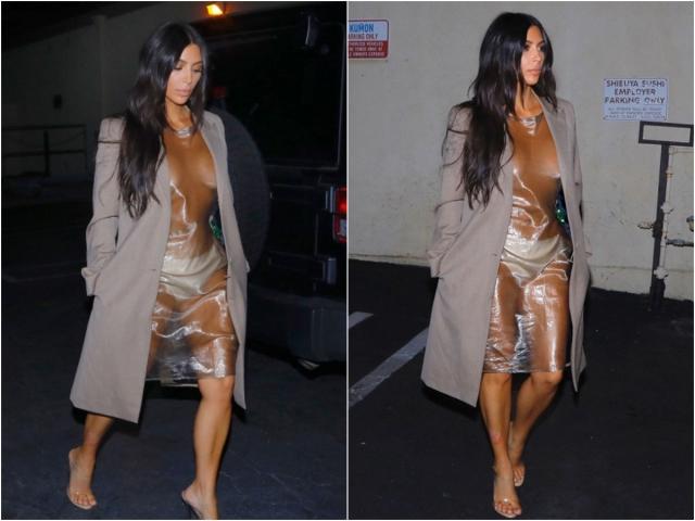 Не так давно папарацци засняли Ким, идущей по улице в абсолютно прозрачном платье.