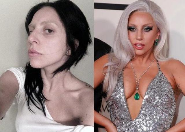 Леди Гага. Певица эпатирует и так, и эдак: на сцене - ярким гримом, в жизни - фото без макияжа в Instagram.