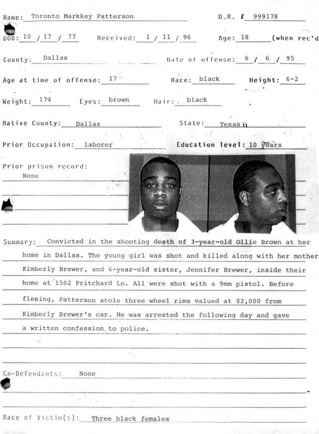 Торонто Паттерсон с 15 летзадерживался хранение и распространение наркотиков. В 17 он организовал бизнес по воровству и перепродаже дорогих хромированных автомобильных дисков. Ему стало известно, что именно такие диски установила на свой БМВ его двоюродная сестра.