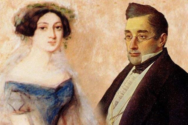 Александр Грибоедов и Нина Чавчадзе . Нине было 17 лет, когда она вышла замуж за дипломата и поэта Грибоедова - в августе 1828 года. Он был вдвое старше.