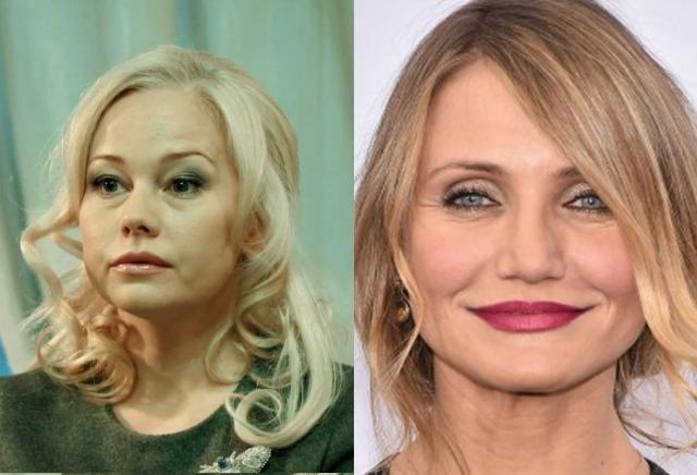 Елена Корикова и Кэмерон Диаз (45 лет). Российская актриса в последнее время очень заметно постарела, в чем многие пользователи винят неудачные пластические операции.