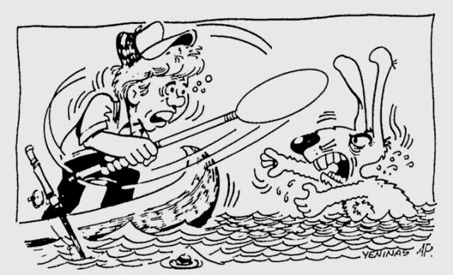 """Он уверял, что избавился от преследователя, ударив веслом по воде и обрызгав кролика. Конечно, эта история стала поводом для многочисленных издевательских комментариев. В The Washington Post инцидент встретили карикатурой в виде пародийного постера к фильму """"Челюсти"""" — только назвали его """"Лапы""""."""