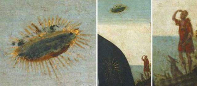 На фреске виден сияющий дисковидный объект над левым плечом Девы Марии. Кстати, на фоне также отчетливо заметны мужчина и собака, в изумлении смотрящие вверх на парящий диск.