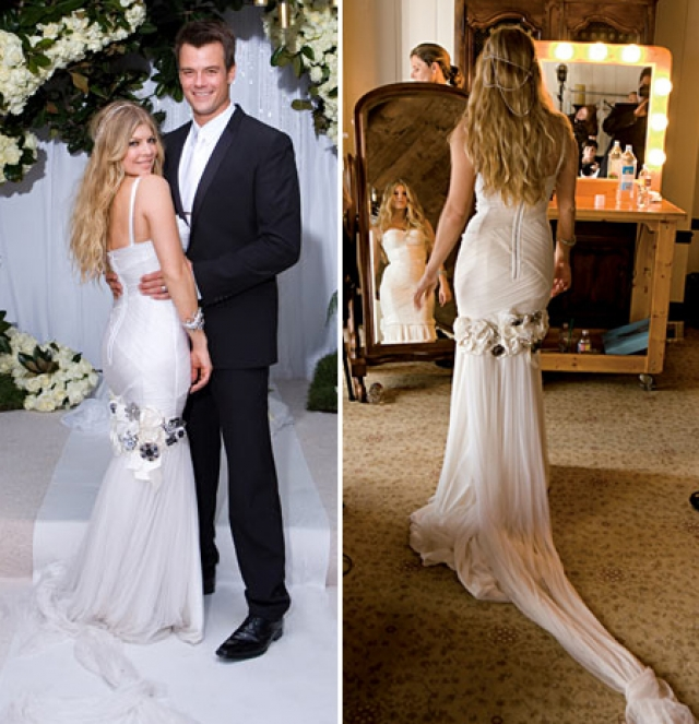 Ферги. Девушка, которую многие считают образцом стиля, на собственной свадьбе пала его жертвой: в праздничном платье она еле передвигалась.