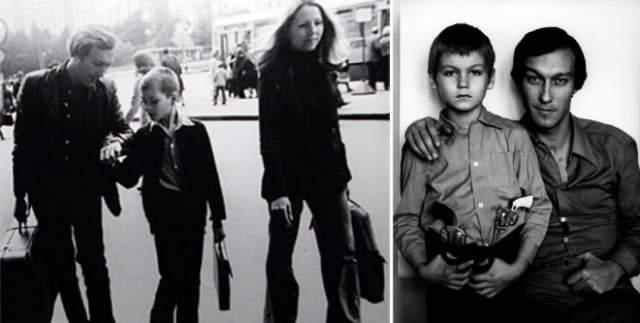 Олег Янковский с сыном Филиппом в 1973 году.