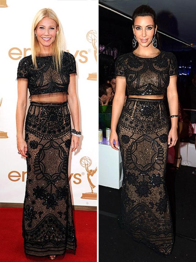 Гвинет Пэлтроу и Ким Кардашьян хоть и надели одинаковые наряды, но на них они смотрелись совершенно по-разному.