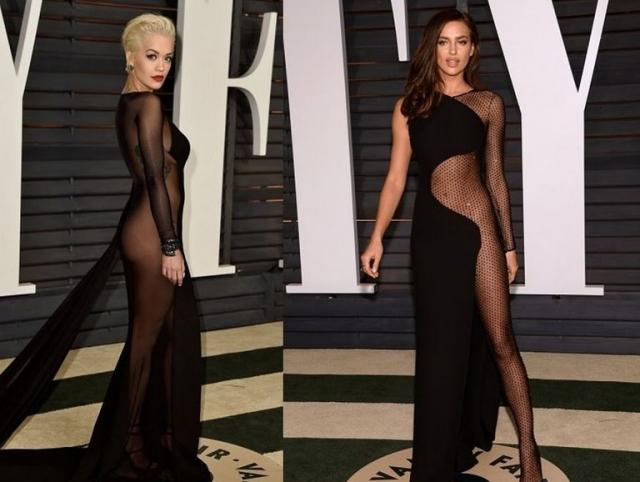 """Рита Ора и Ирина Шейк выбрали одинаковые """"голые"""" платья для посещения Vanity Fair Oscar Party и явно не прогадали, поскольку обе были хороши."""